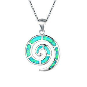 NWOT Green Fire Opalite Infinity Circle Necklace